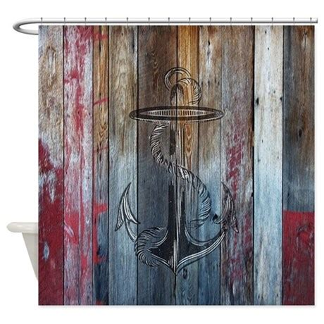anchor shower curtain vintage anchor rustic wood shower curtain by rebeccakorpita