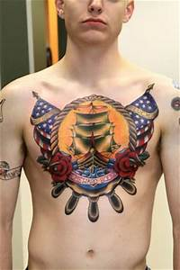 Navy Army Tattoo On Chest