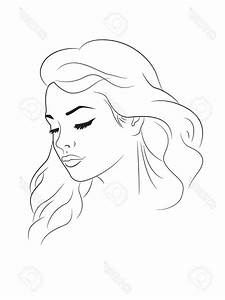 Face Drawing Outline Woman Outline Drawing Of A Young ...