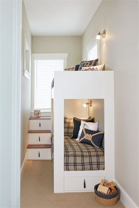 small bedroom with white bunk bed Beds for small rooms