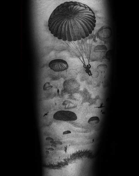 parachute tattoo designs  men sky diving ink ideas