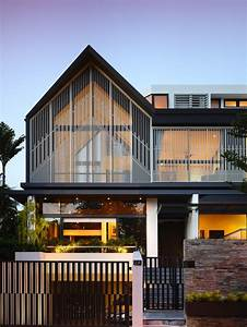 Slatted, Facade, House, With, Sleek, Adjoined, Apartment
