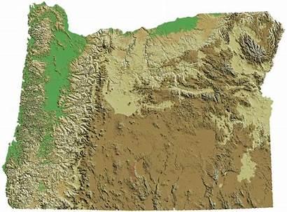 Map Relief Oregon Dem Gold Regions States