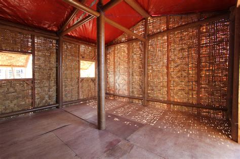 shigeru ban constructs paper log house   philippines
