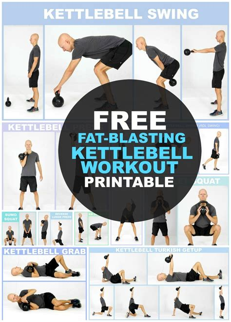 kettlebell workout exercises printable weight body loss routine beginners routines chart workouts fitness kettlebells fat arm exercise yurielkaim plan muscle