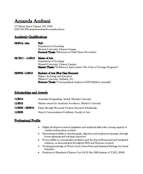 academic cv template  phd application word