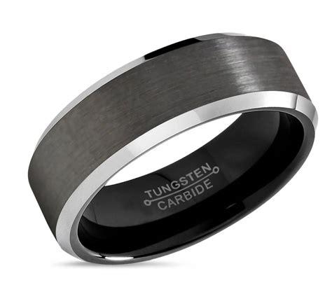 gunmetal tungsten ring mens wedding band black mm