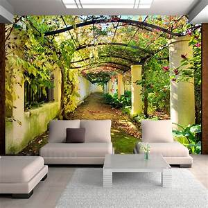 details zu fototapete natur laubengang pergola vlies With balkon teppich mit tapete 3d