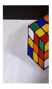 3D Trick Art| Rubik's Cube Realistic Drawing - YouTube