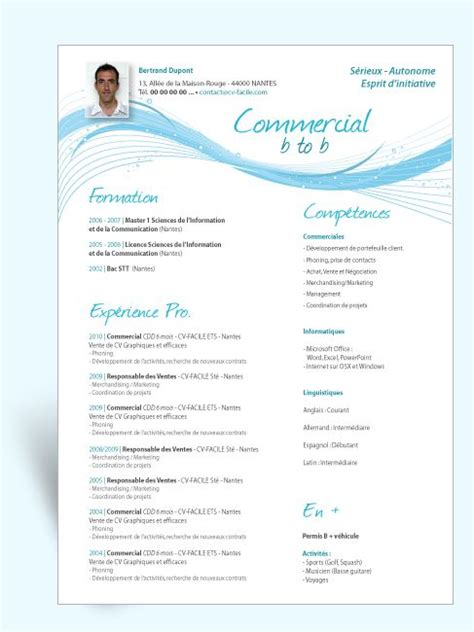 Modele Cv Commercial Word by Modele De Cv Commercial Andallthingsdelicious