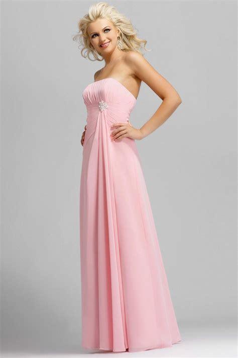 pink strapless full length pearl pleated chiffon satin bridesmaid dress prlog