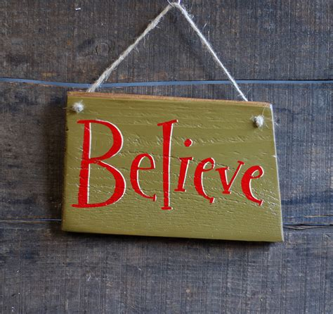 Small Believe Hand-Lettered Wooden Sign, by Our Backyard ...