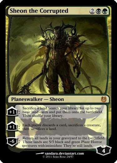 sheon the corrupted black green planeswalker custom