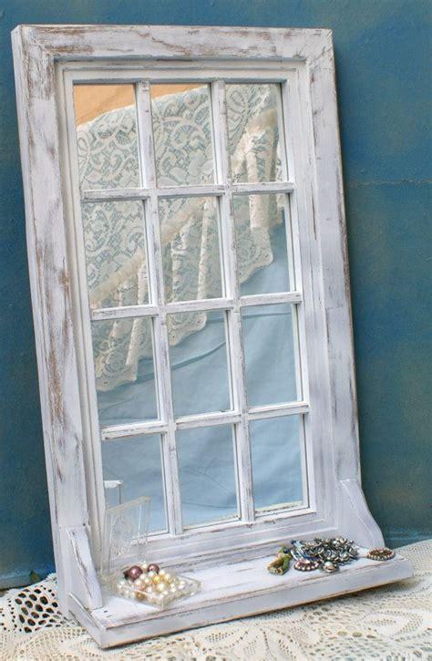 shabby chic window mirror shabby white upcycled vintage window frame style mirrored mirror shelf