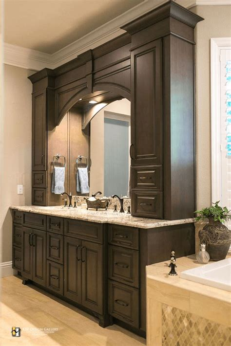 traditional double vanity  arch  storage towers