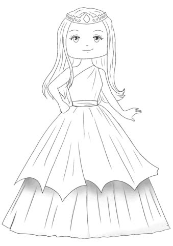 cute princess coloring page  printable coloring pages