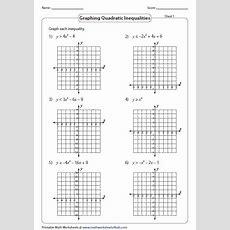 Quadratic Inequalities Worksheets