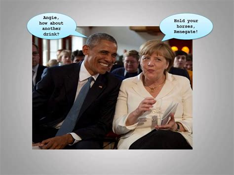 Berlin — at the end of a long weekend of rhetorical salvos over the g7 summit's chaotic ending, german chancellor angela merkel added her voice to the chorus, saying she found donald trump's actions sobering and a bit depressing, while calling for more civility in international exchanges. Barack Obama and Angela Merkel G7 summit 2015 - YouTube