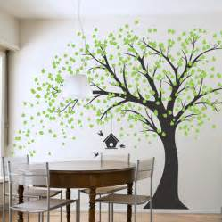 large windy tree with birdhouse wall decal