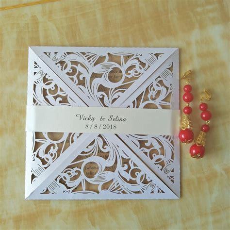 50pc Elegant wedding invitation with belt dinner party