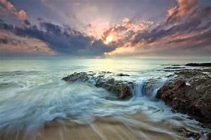 Beach, Sea, Dawn, Dusk, Landscape, Ocean, Rocks, Sunlight, Hd, Nature, 4k, Wallpapers, Images