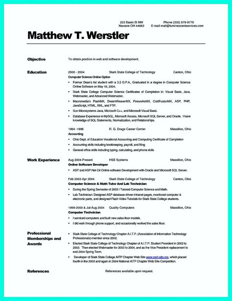 awesome   computer science resume sample collection