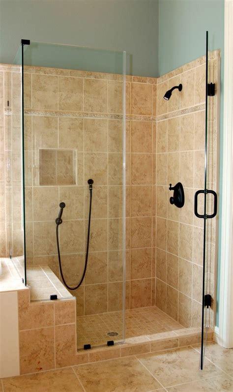 bathroom corner glass shower enclosure  black door