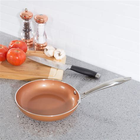double layer  stick frying pan  copper colored finish saute omelet skillet