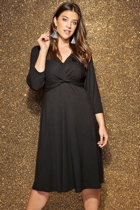 Yours London  Robe Noire Cachecoeur, Grande Taille 44 à 60