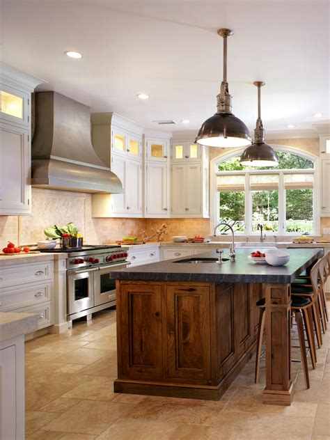 White Kitchen With Butternut Wood Island  Hgtv