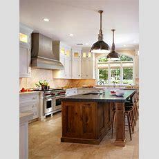 White Kitchen With Butternut Wood Island  Hgtv