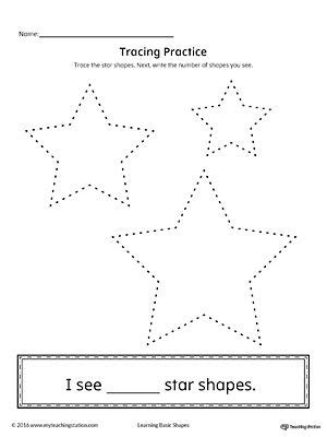 Geometric Shape Counting And Tracing Star  Shapes Worksheets  Shape Worksheets For Preschool
