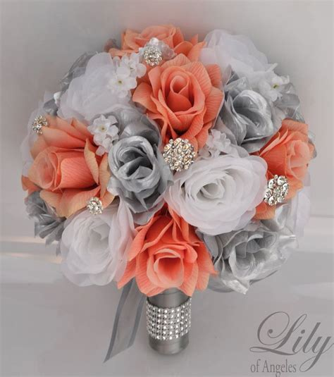 piece package silk flowers wedding bridal bouquet party