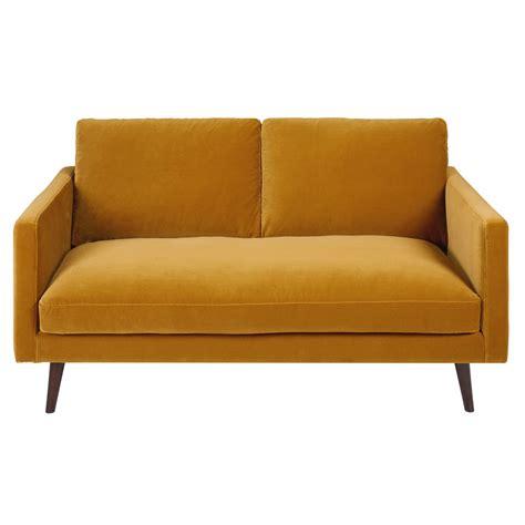 canape en s canapé 2 places en velours jaune moutarde kant maisons