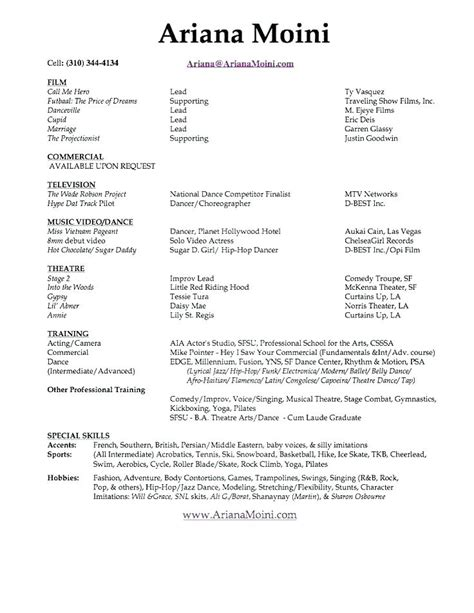Musical Resume by 11 12 Sle Musical Theatre Resume Lascazuelasphilly