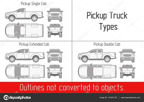 truck pickup types template drawing vector outlines