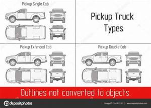 Truck Pickup Types Template Drawing Vector Outlines Not Converted To Objects  U2014 Stock Vector