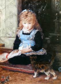 Victorian Girl with Kitten