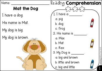 kindergarten reading comprehension  teaching