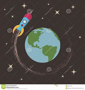 Rocket Around The Earth Royalty Free Stock Image - Image ...