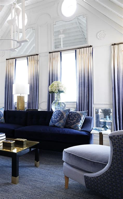Decorating With A Blue Sofa by Stunning Living Room With A Blue Sofa And Ombre Drapes By