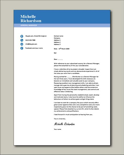 general manager cover letter  sample template