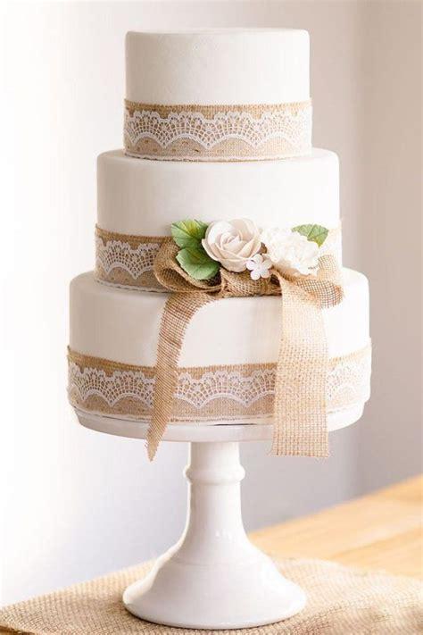 rusticwhite wedding cake  burlap lace details http