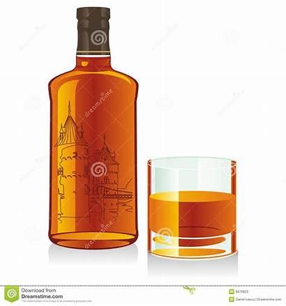 Whiskey Bottle Glass Isolated Vector Illustration