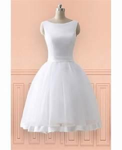 Cheap knee length simple beach wedding dress with open bow for Simple knee length wedding dresses