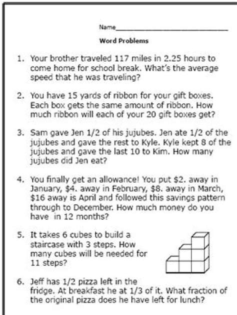 here are some math word problems for 6th graders
