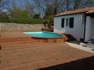 Piscine Semi Enterrée Composite : habillage bois d 39 une piscine semi enterr e pose parquet ~ Dailycaller-alerts.com Idées de Décoration