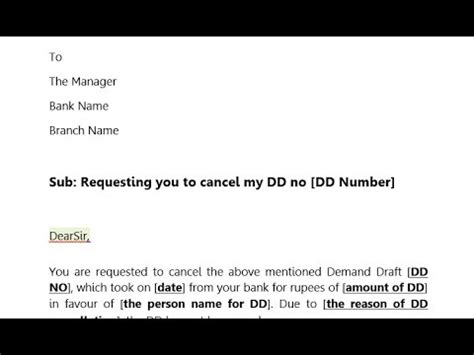 dd cancellation letter  bank briefly explained youtube