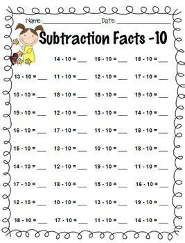 subtraction facts practice     kelly hong tpt