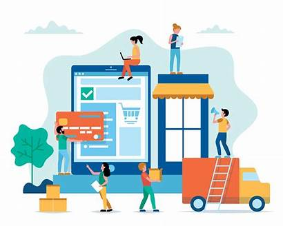 Shopping Illustration Delivery Flat Goods Vector Buying